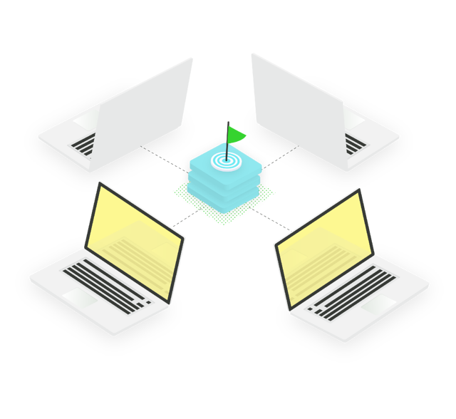 Graphic of laptops joining together for the workshop