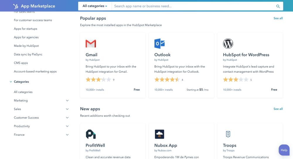 HubSpot app collection