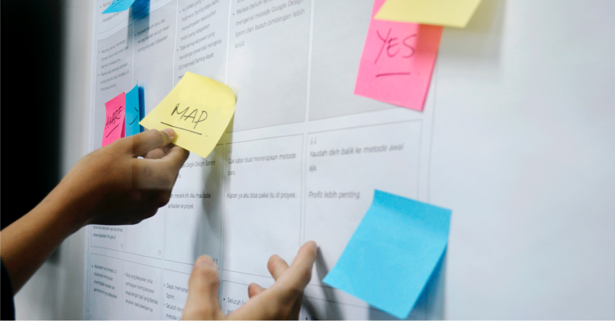 Putting a customer experience map up with post-it notes.