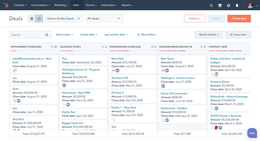HubSpot deals platform