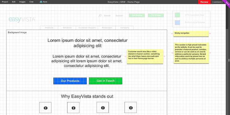 Easy Vista website wireframes