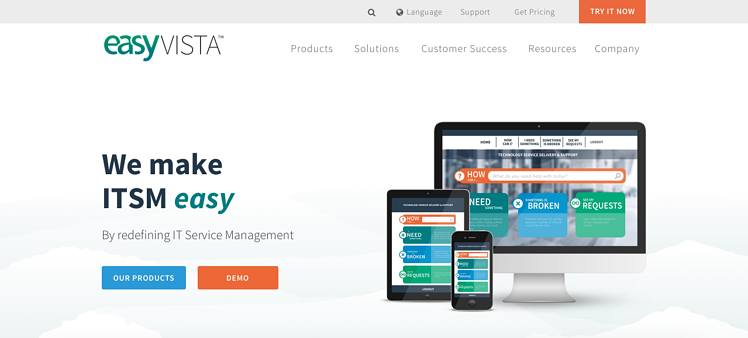EasyVista website design mockup