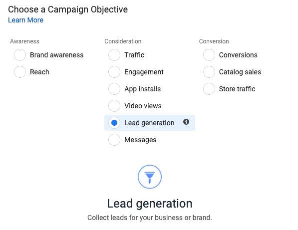Facebook ad campaign objective set to lead generation