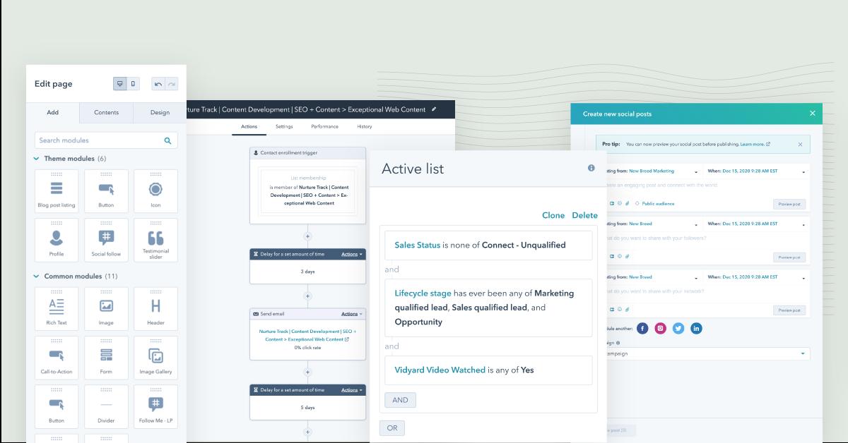 Screenshots of HubSpot Marketing Hub's best feature
