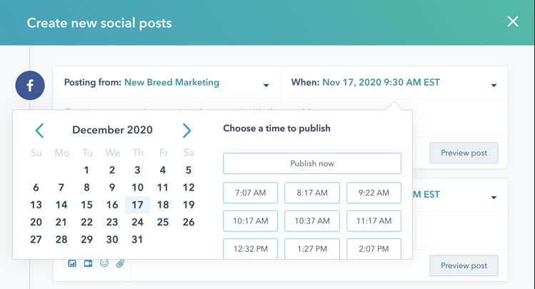 HubSpot social media scheduling tool.