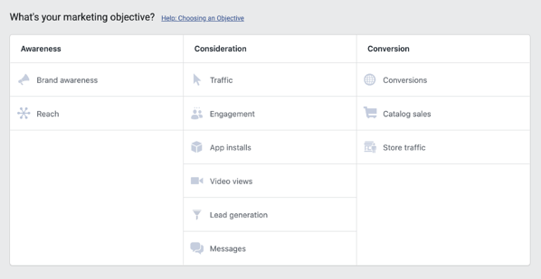 Marketing objects for Facebook ads