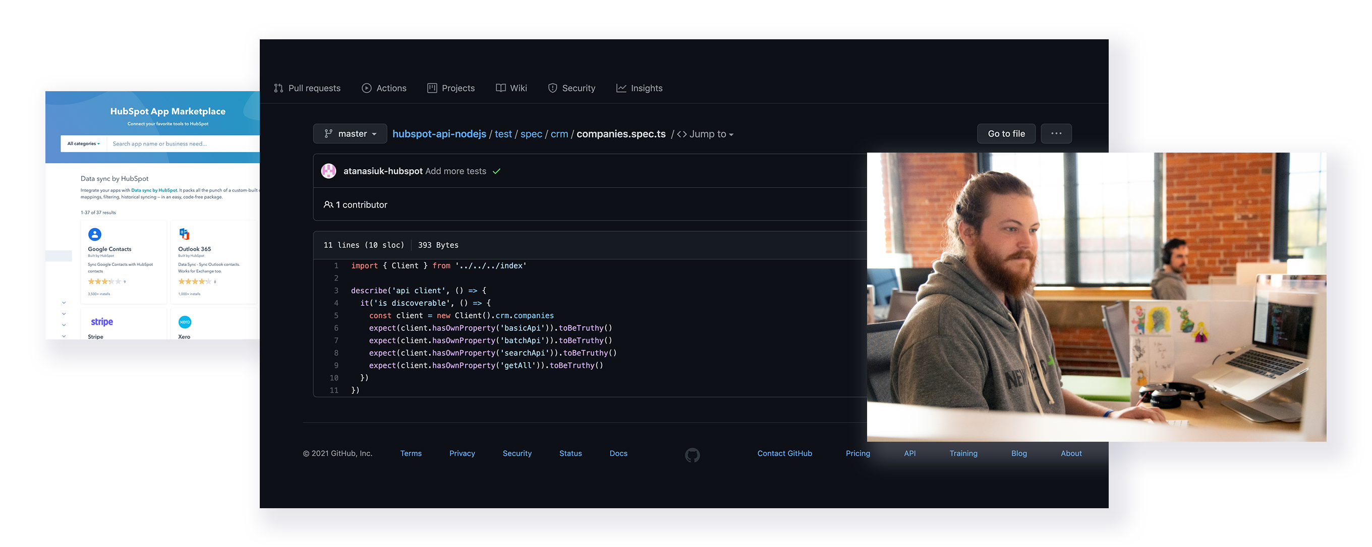 New Breed developers work on a HubSpot integration in GitHub
