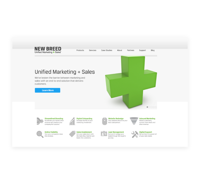 Screenshot of the first New Breed website on the HubSpot CMS