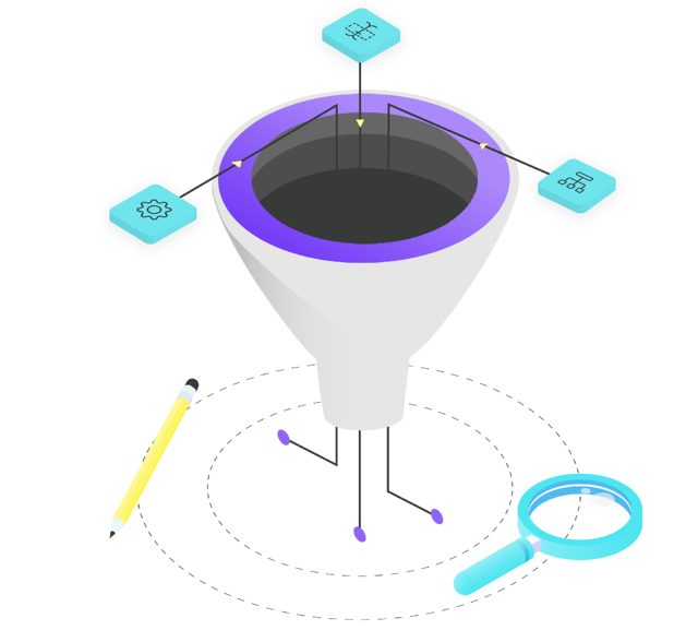 Graphic of marketing and sales funnel with operational processes flowing in.