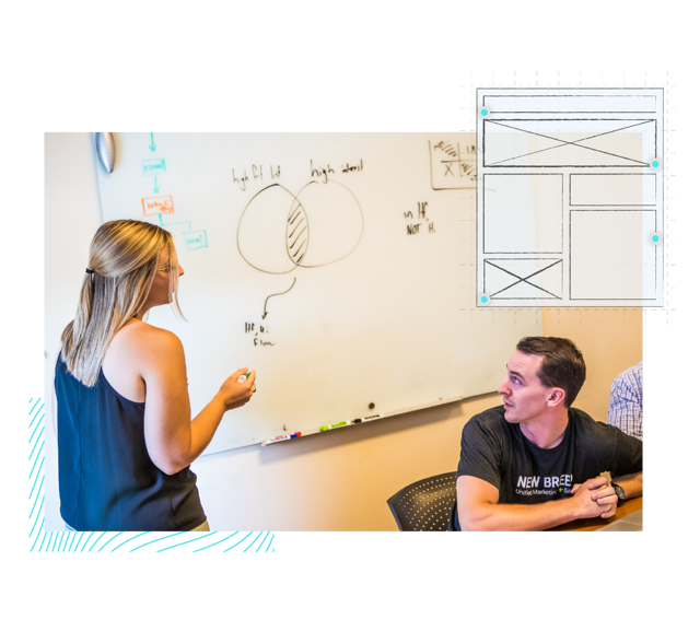 New Breed team draws website wireframes on a whiteboard.