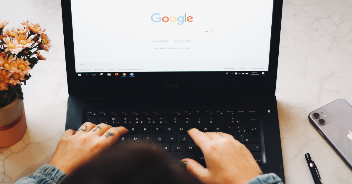 Typing into a Google search bar.