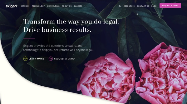Exigent Group homepage featuring flowers and bright colors.