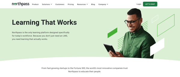 Simple vector shapes and shades of green make up Northpass website hero.