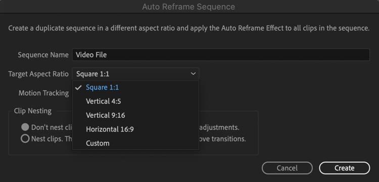Adobe Premiere Auto Reframe Tool