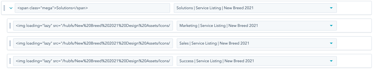 HubSpot CMS advanced menus example