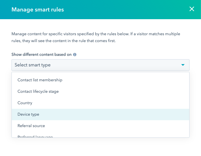 Screenshot of creating smart rules in HubSpot
