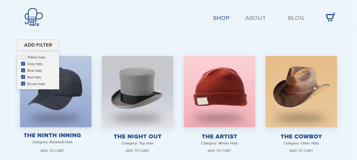 Ecommerce website with poor information architecture.