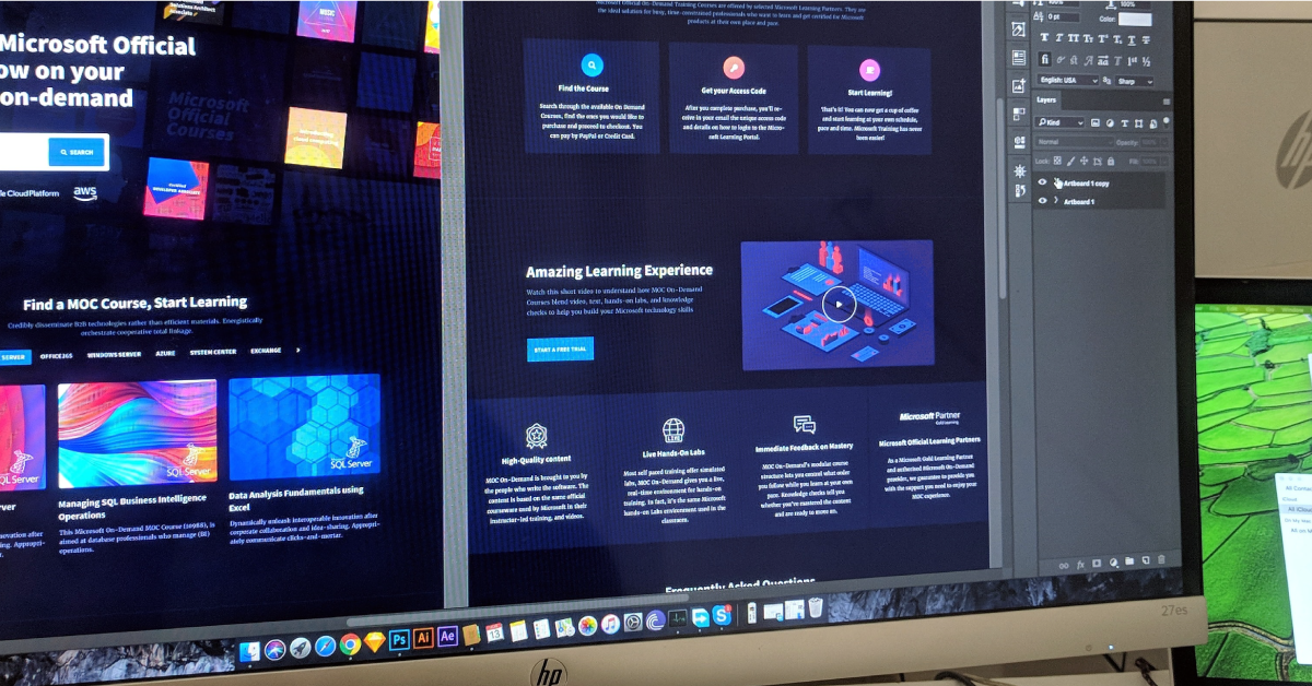 Web design elements being created in Photoshop