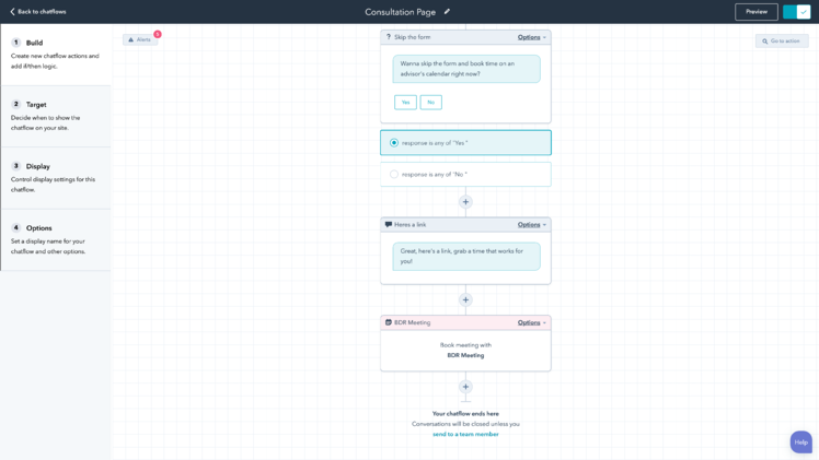 HubSpot chatbots conversation branches.