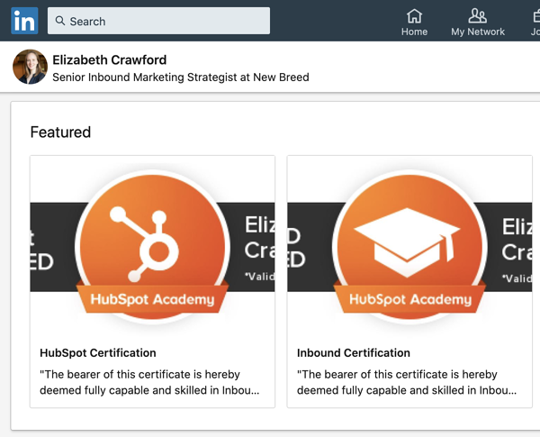 New Breeder highlights their HubSpot certifications on LinkedIn.