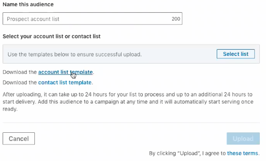 LinkedIn account list and contact list creation page