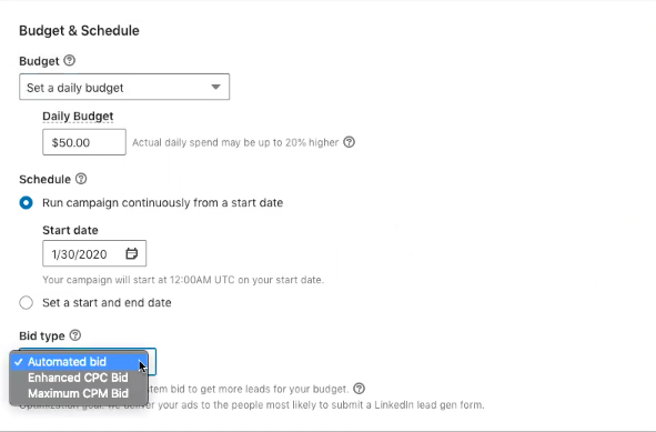 LinkedIn budget and schedule options