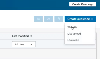linkedin create audience drop down with mouse hovering over website option