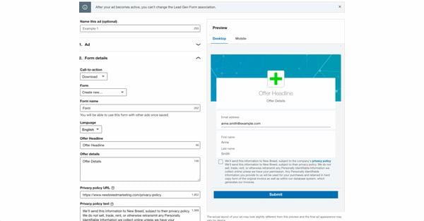LinkedIn form details page for lead generation objective
