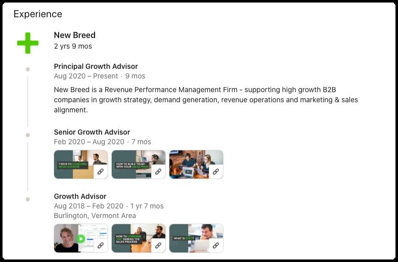 LinkedIn profile job experience