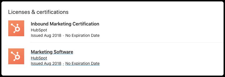 LinkedIn profile certifications