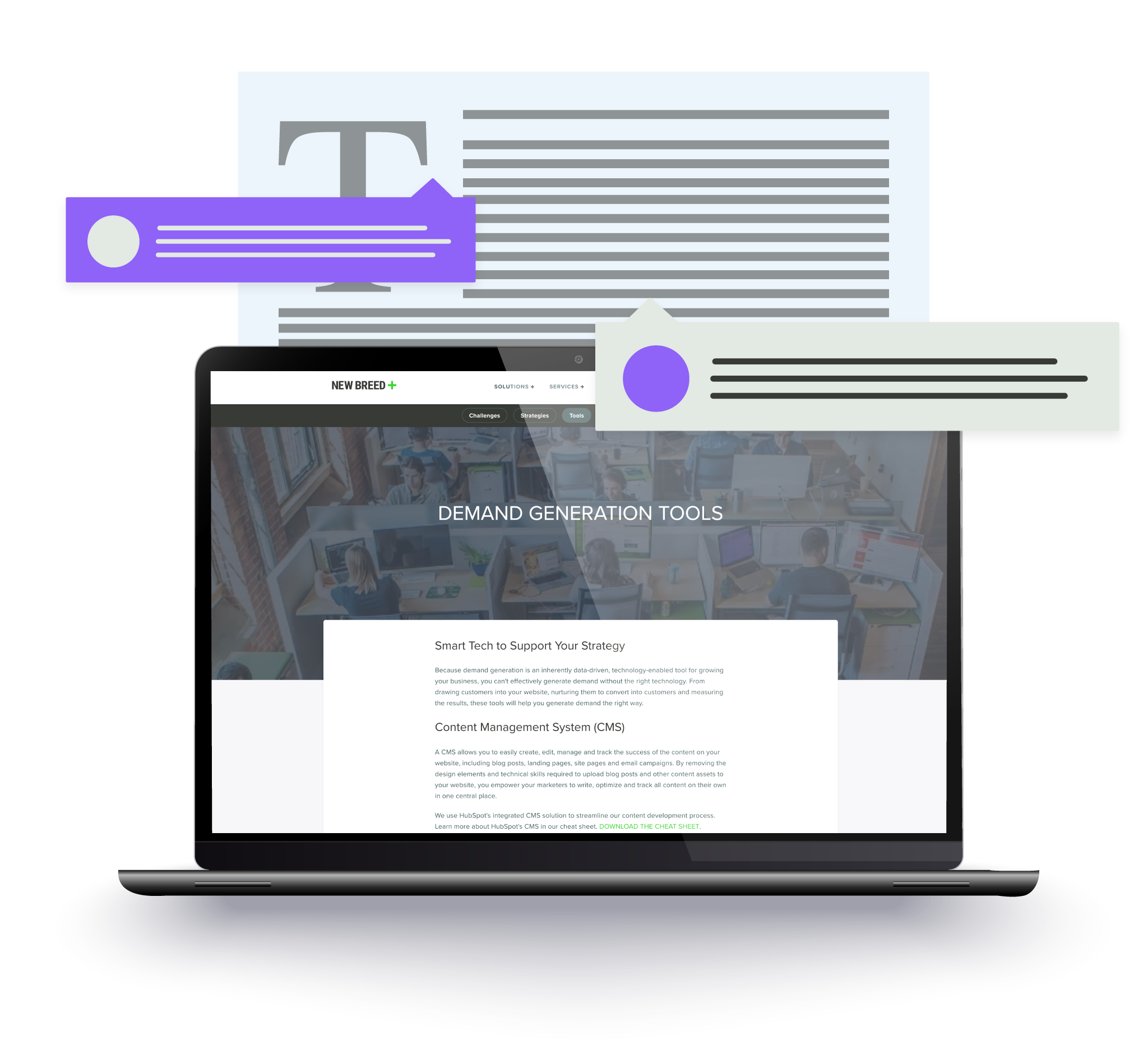 Mockup of website content production