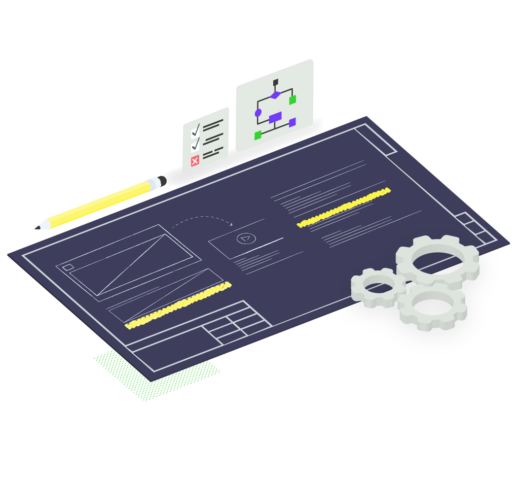 Graphic of a website wireframe blueprint and conversion pathways.