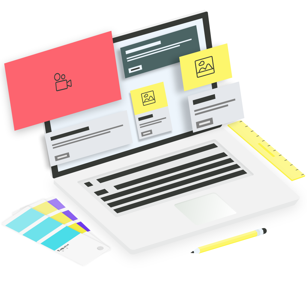 Graphic of website design mockup and color palettes.