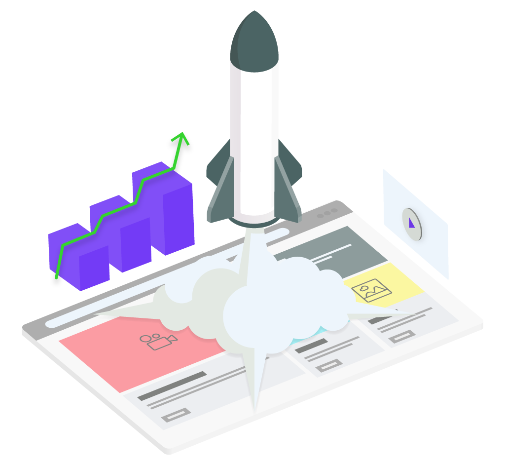 Graphic of a finalized website redesign launch