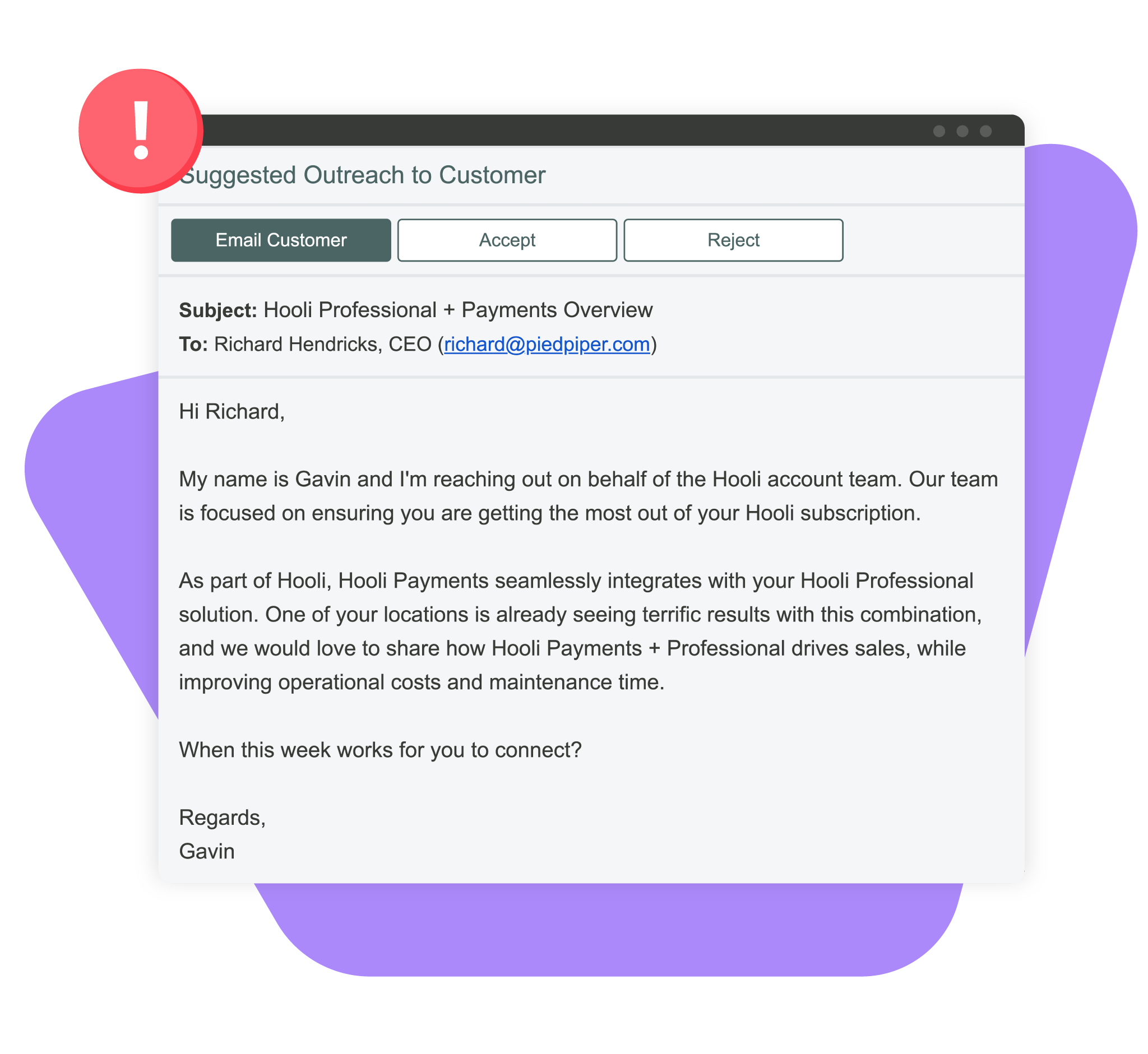Product screenshot of customer engagement playbooks in an email
