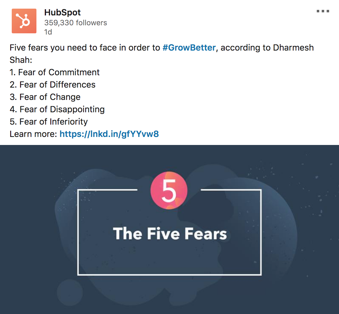 hubspot_five_fears_post_example